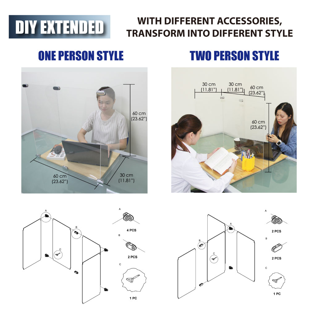 New Clear Acrylic Shield Sneeze Guard Protector One/Two Person Use For Restaurant  Counter Office School Classroom Taiwan Made