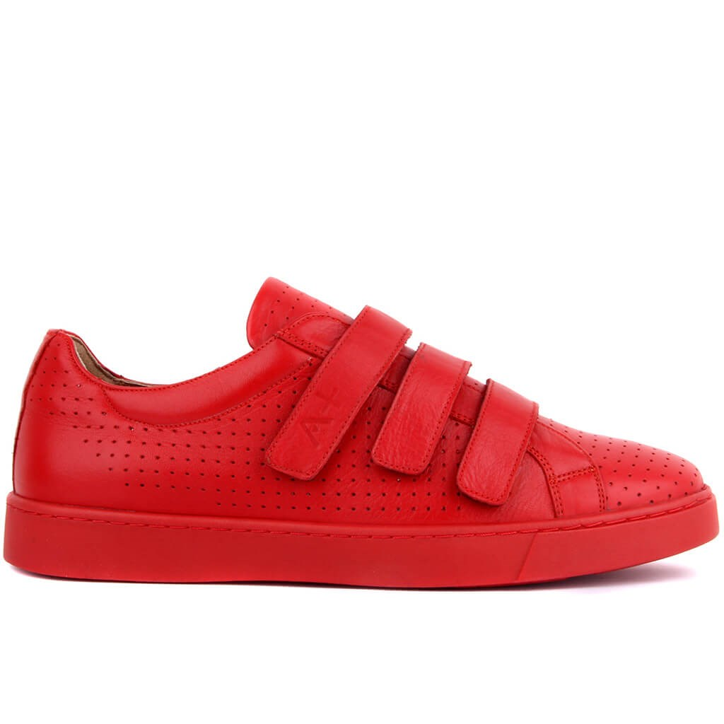 Sail Lakers-Red Leather Velcro Men's Sneakers Daily Casual Shoes