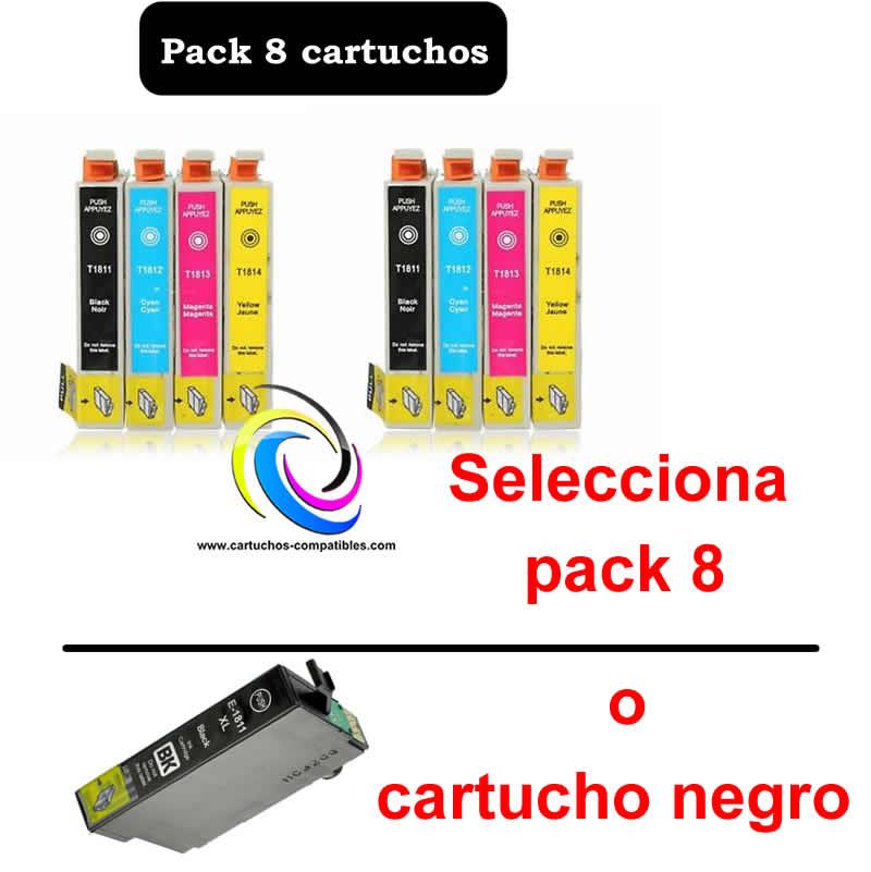 Epson T18 Pack 8 Compatible T1801 T1802 T1803 T1804 T1811 T1812 T1813 T1814, XP-30 XP-102 XP-202, XP30 XP102 XP202