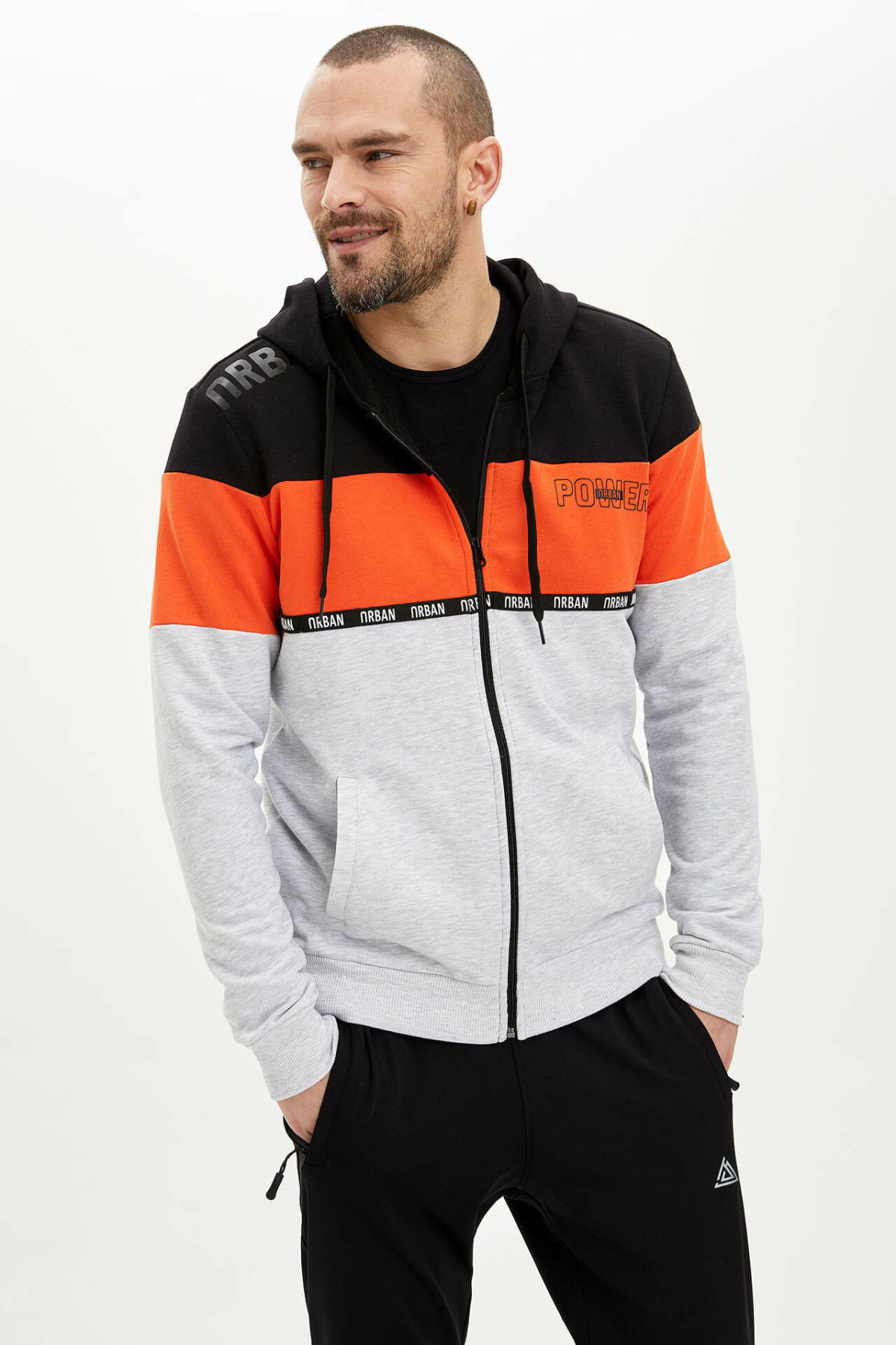 DeFacto Man's Knitted Tops Men's Striped Top Coats Men's Hooded Sports Coats Men's Spring Outwear Coats-N2960AZ20SP