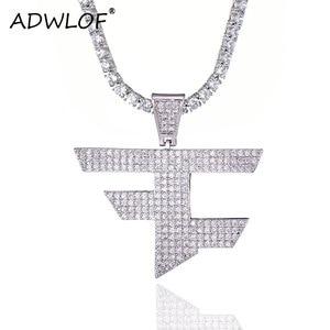 FaZe Clan Pendant Necklace Men Women Hip Hop Gold Color Color Iced Out Cubic Zircon Jewelry Necklace