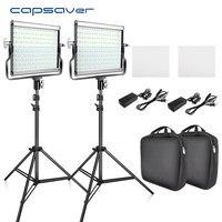 Capsaver-luz LED para vídeo, panel de metal para lámparas de estudio con trípode para Youtube, L4500, 3200K-5600K, CRI 95 de 15W