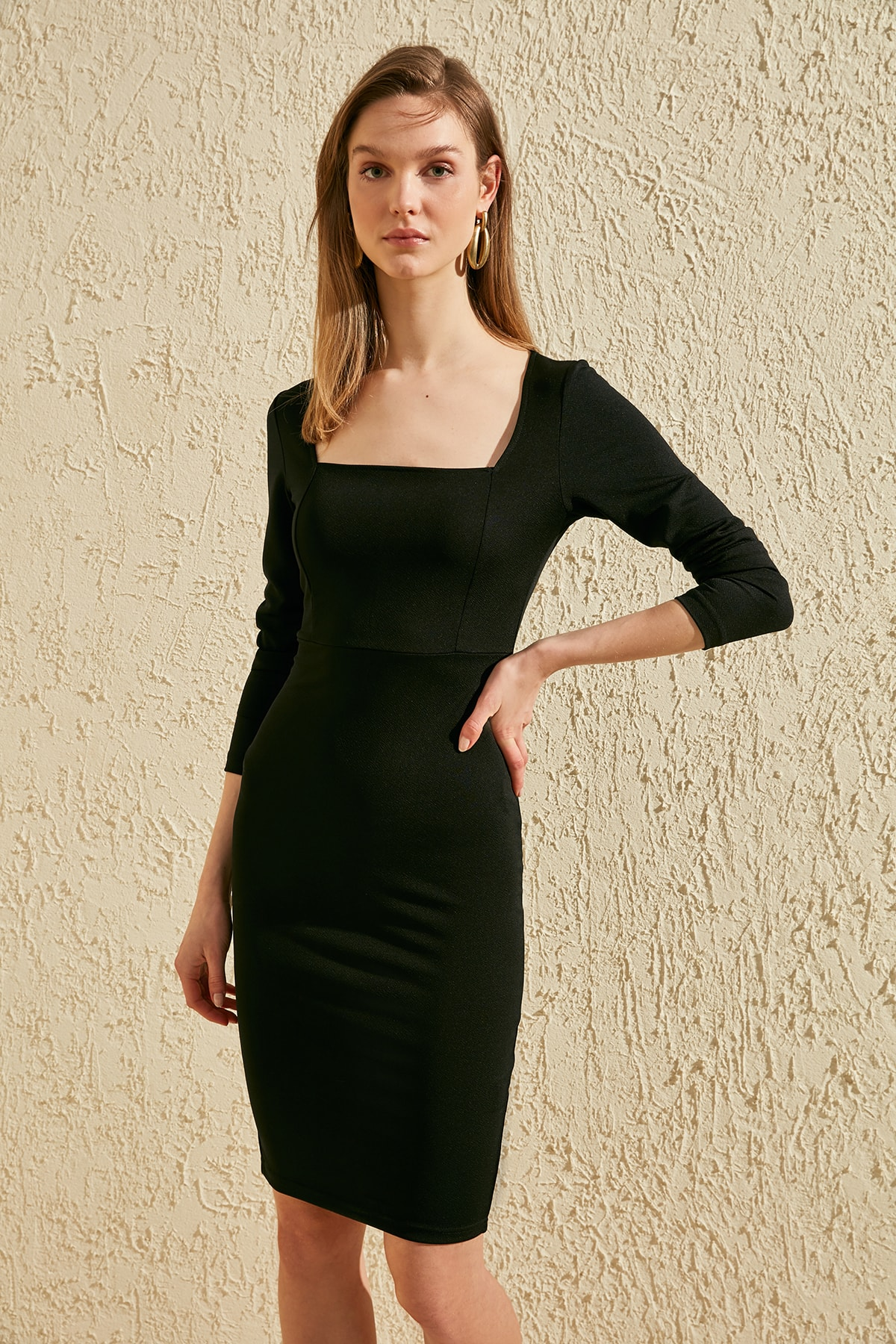 Trendyol Square Collar Knitted Dress TWOSS20EL1227
