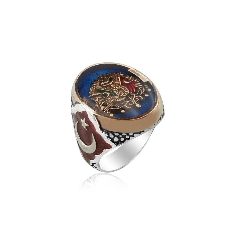 925 Silver Ottoman Ring Moon Star for Men Resurrection Ertugrul Kayi Ring for Man(Turkey)