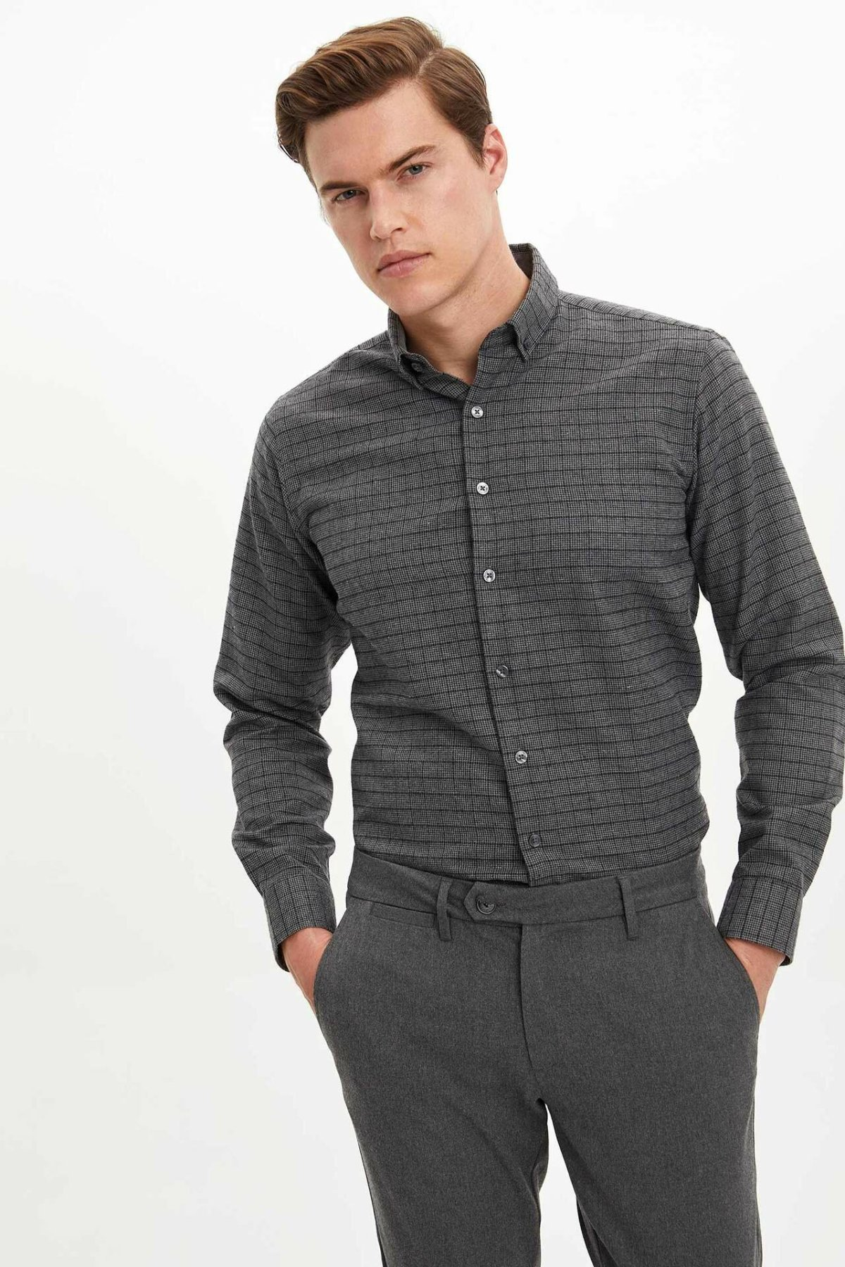 DeFacto Man Dark Color Striped Casual Smart Long Sleeve Shirt Professional Turn-down Collar Shirts -M2949AZ19WN