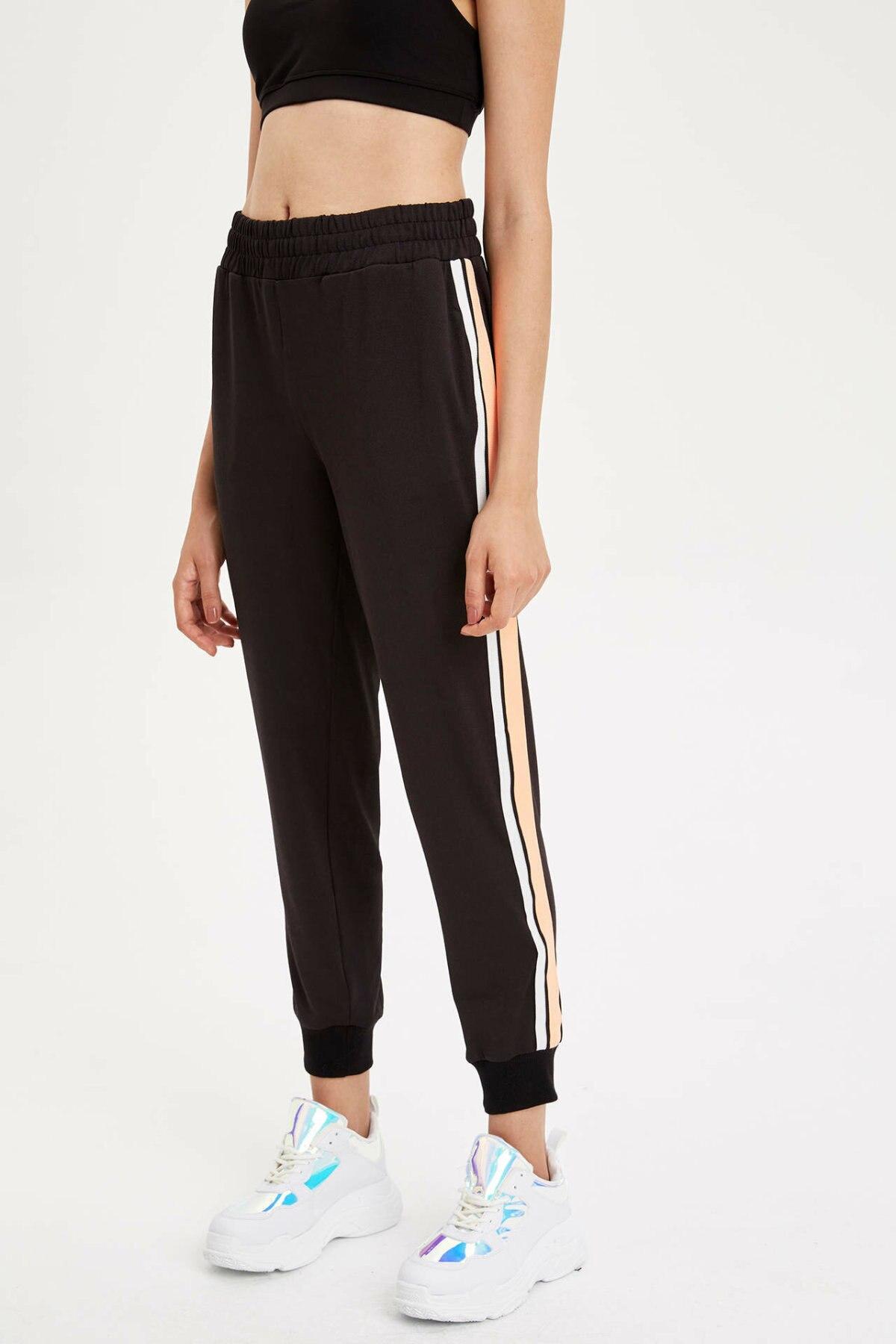 DeFacto Woman Summer Black Casual Legging Pants Women Elastic White Striped Bottoms Female Knitted Trousers-L5520AZ19HS