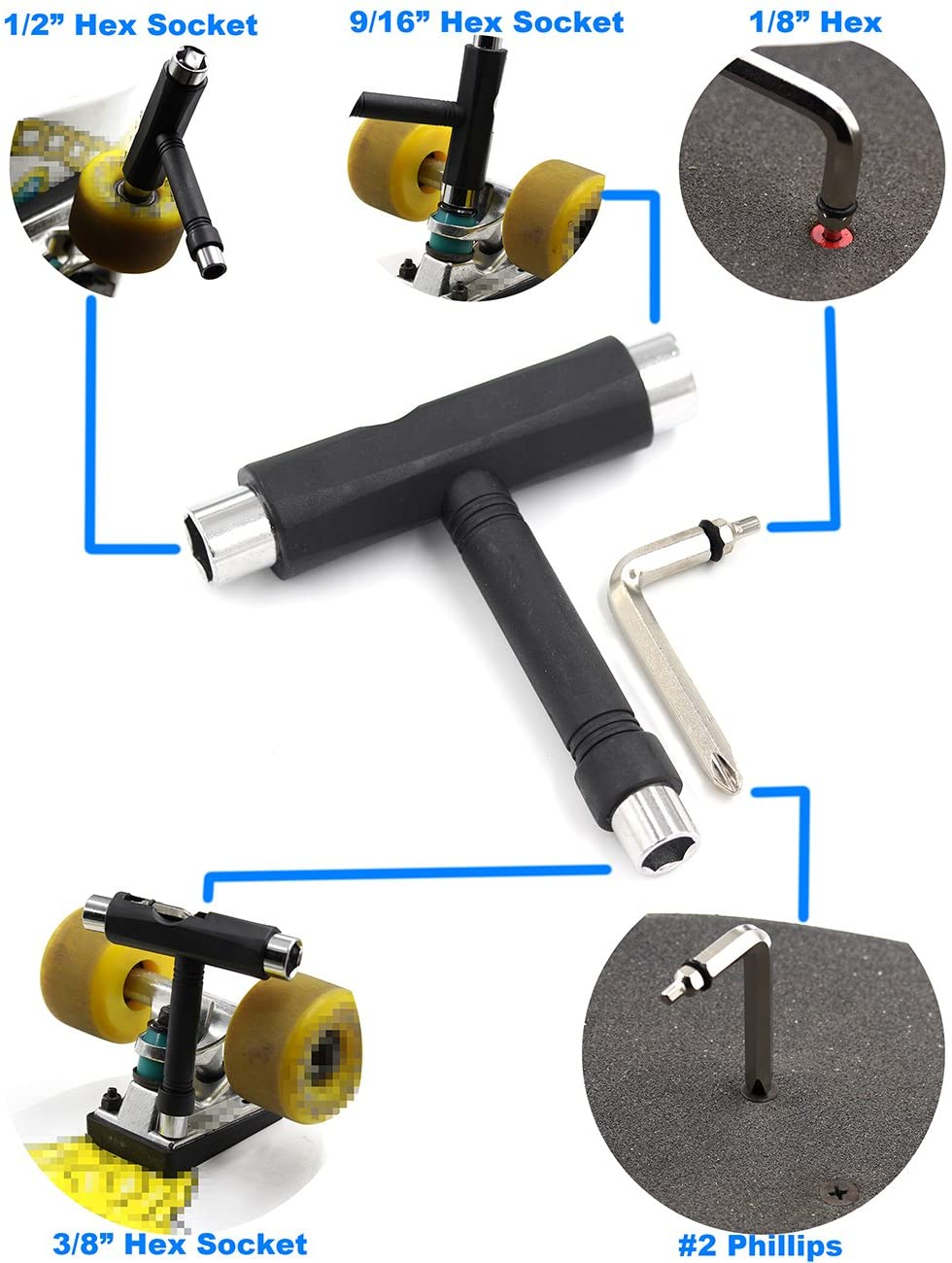 VOSAREA Skateboard T Tool All-in-One Skate Tools Skateboard T Accessory with L-Type Phillips Head Wrench