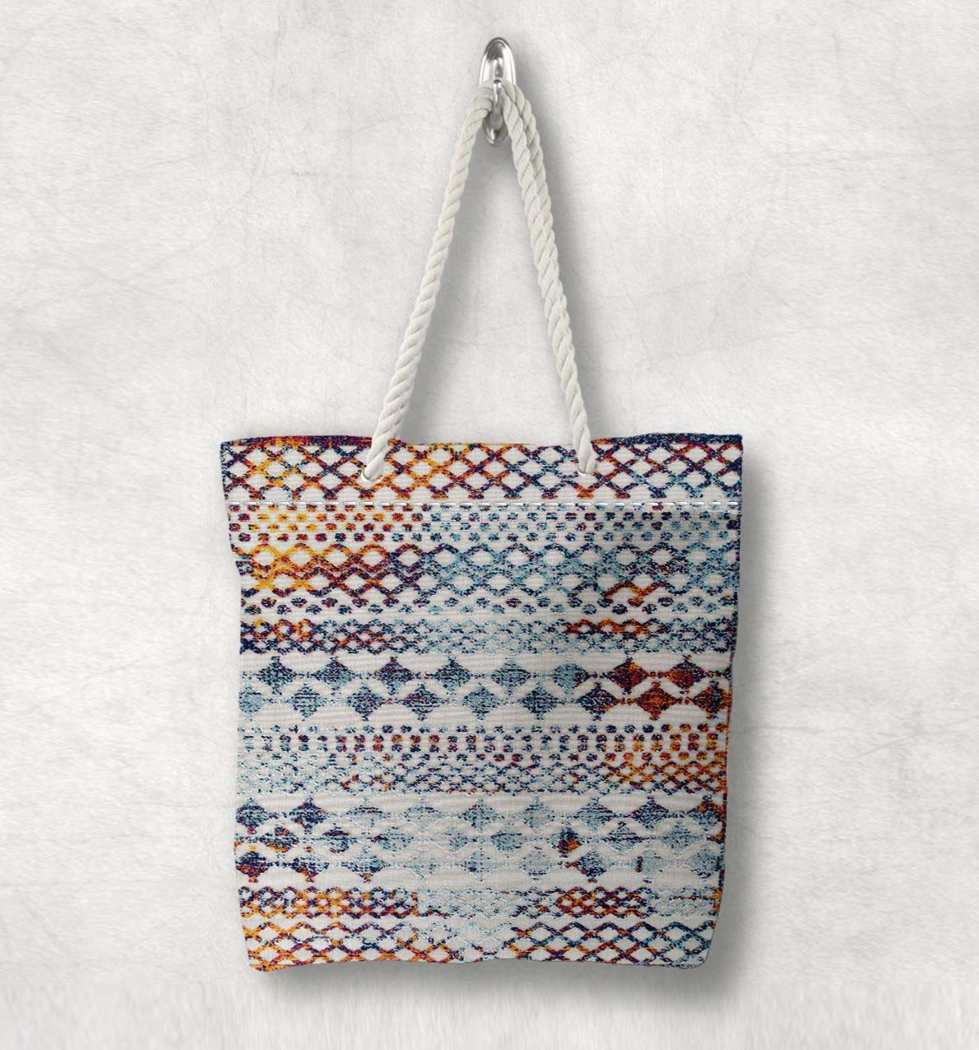 Else Colored Geometric Turkish Kilim Design Fashion White Rope Handle Canvas Bag Cotton Canvas Zippered Tote Bag Shoulder Bag