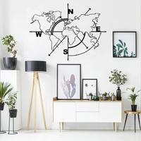 Metal World Map Without Borders, Metal Wall Art Compass, Metal Wall Decor, Home Office Decoration