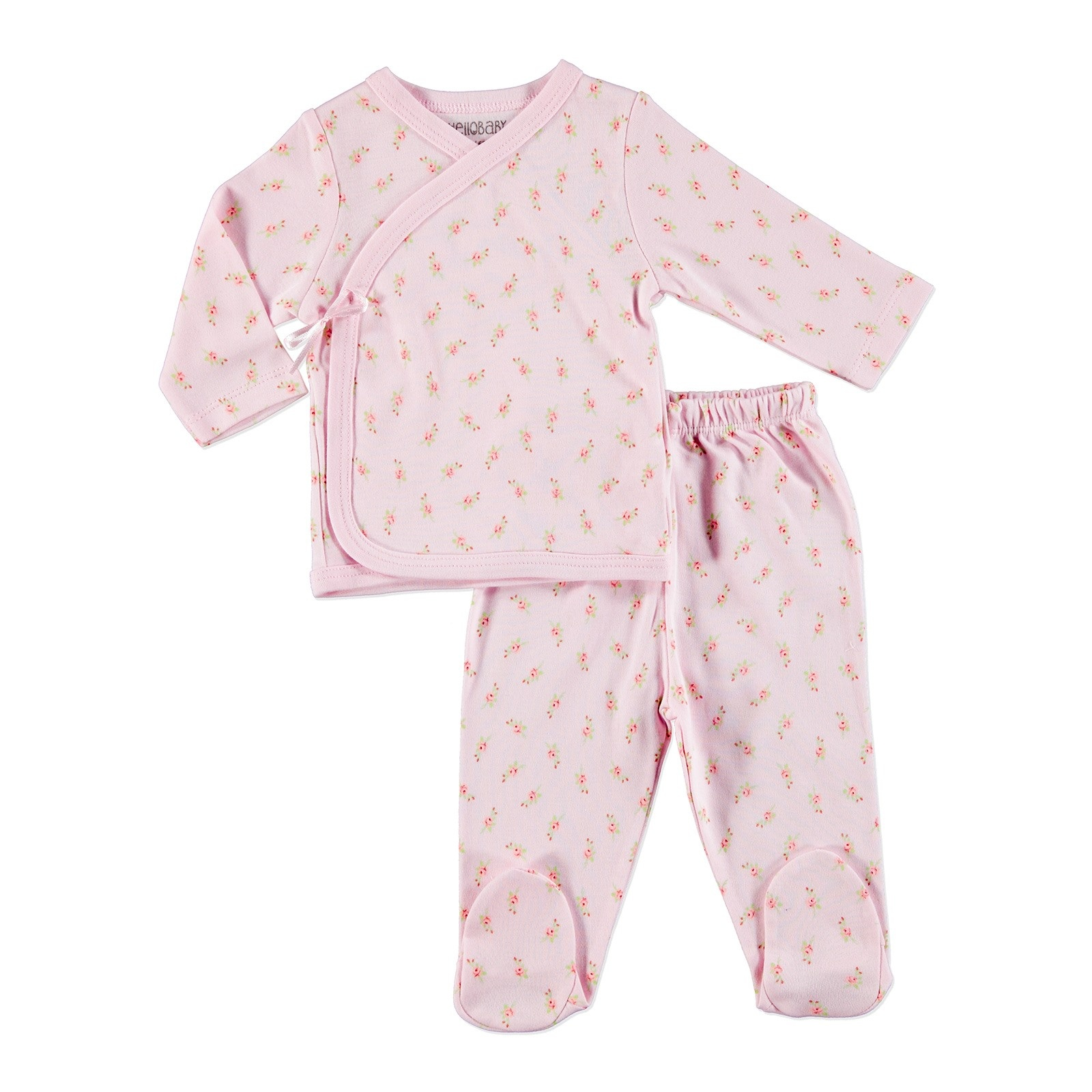 Ebebek HelloBaby Little Flowers Baby Snaps Bodysuits Footed Trousers 2 Pcs Set