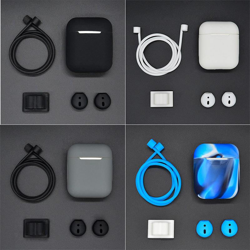 <font><b>5</b></font> <font><b>in</b></font> <font><b>1</b></font> Silicone Cover <font><b>Case</b></font> for <font><b>Airpods</b></font> Headset Earphone Accessories <font><b>Case</b></font> + Neck Strap+Watch Band Holder Earhook Cover r25 image