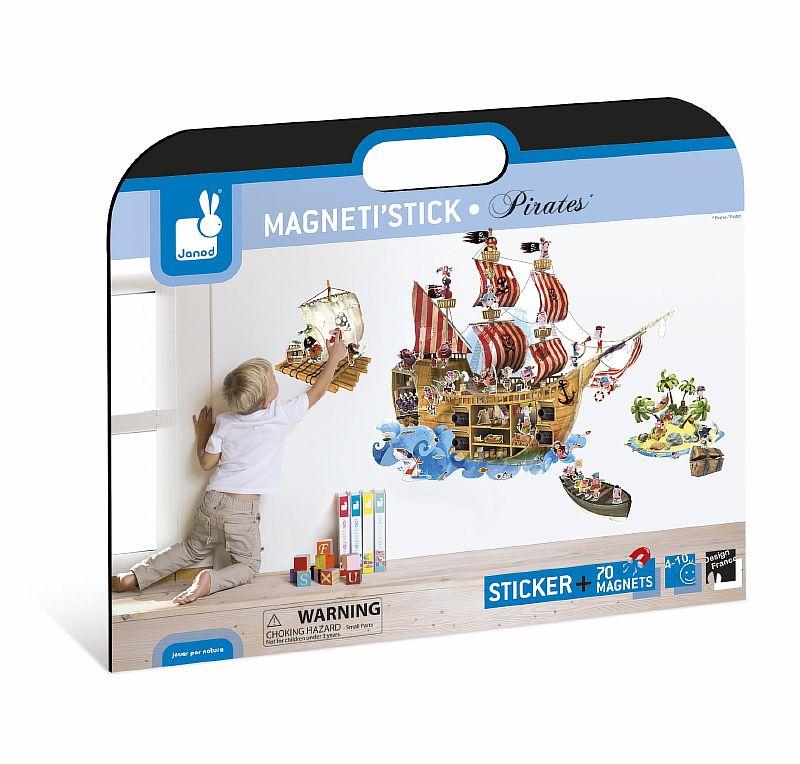 Магнитные стикер на стену Пираты (1 большой стикер, 70 магнитов) - 3