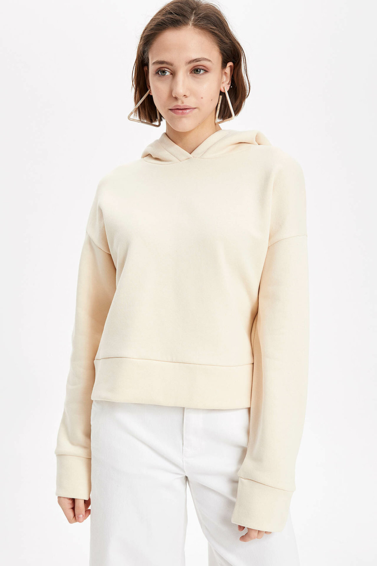DeFacto Woman Simple Solid Hoodies Women Casual Long Sleeves Pullovers Loose Women Autumn New -K8497AZ18CW