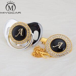 Image 5 - MIYOCAR altın gümüş isim harfleri mektup bir güzel bling emzik ve emzik klip BPA ücretsiz kukla bling benzersiz tasarım LA