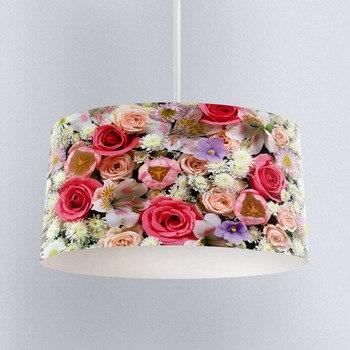 Else Colored Roses Flowers Floral Digital Printed Fabric Chandelier Lamp Drum Lampshade Floor Ceiling Pendant Light Shade