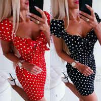 2020 Hot Sale Sexy Boho Polka Dot Dress Women Short Sleeve Bodycon Summer Red Black Dress Holiday Sun Dress Women Clothes 2019