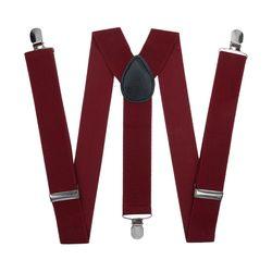 Подтяжки для брюк широкие (3.5 см, 3 клипсы, Бордовый) 52868