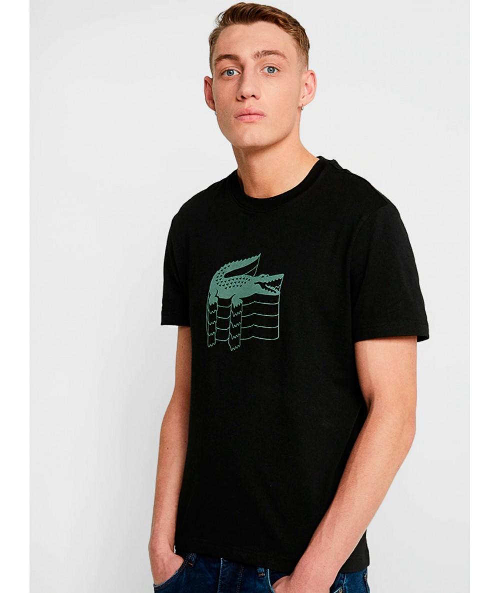 T-SHIRT LACOSTE LOGO 3D basique T's manches courtes pour homme couleur noir vetement homme marque Crocodile