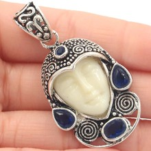 53x30mm Special Big 12.9g Goddess White Face, Tanzanite Gift Silver Pendant