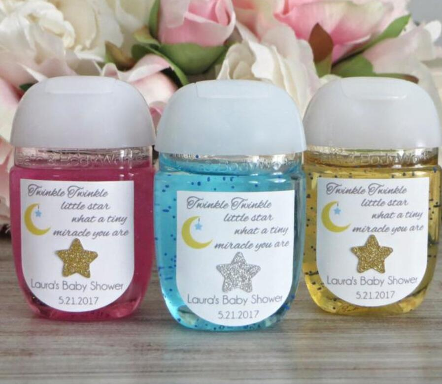 Custom Twinkle Twinkles Little Star Baby Shower Hand Sanitizer Favor Label First Birthday Hand Sanitizer Lables Gifts Stickers