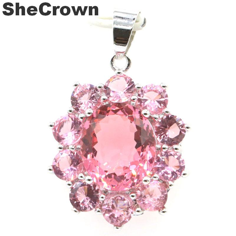 34x23mm Elegant Created Pink Morganite Woman's Party Silver Pendant