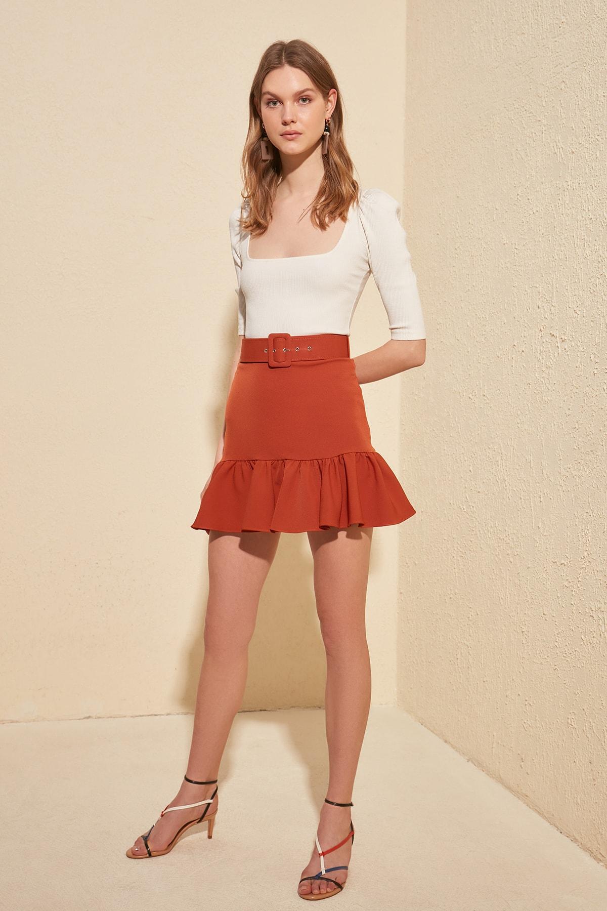 Trendyol Belt Detail Skirt TWOSS20ET0258