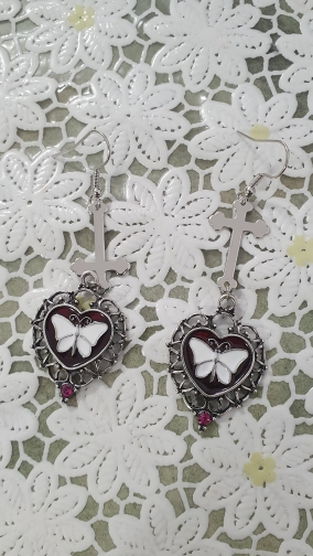 E-girl Goth Butterfly Earrings with Cross & Heart photo review