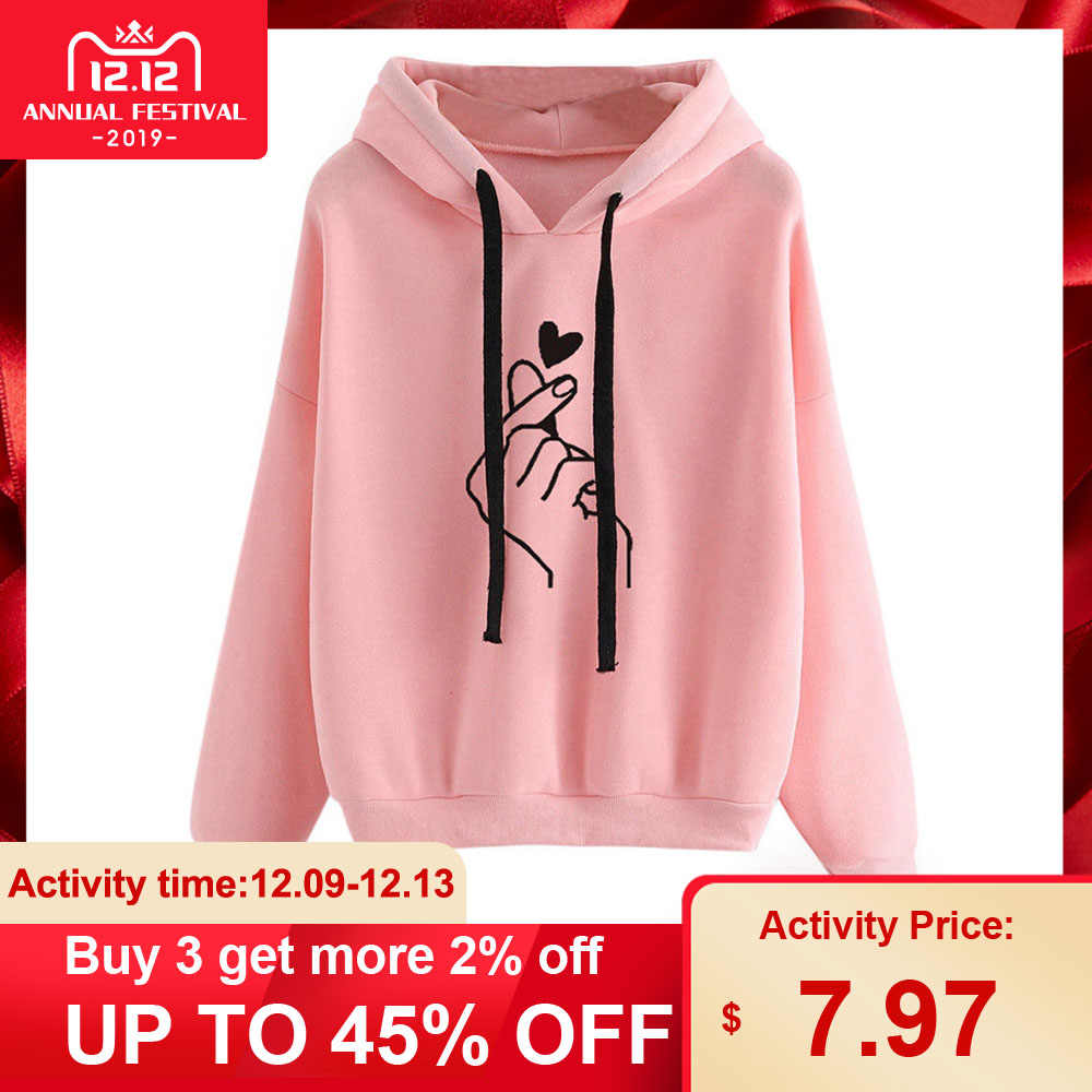 Fashion Women Hoodie Sweatshirts Heart Finger Pattern Drawstring Long Sleeve Ribbed Cuffs Casual Thin Pullover Lady Hooded Tops