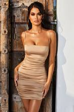 Summer Bodycon Dress 2021 Satin Halter Cross Strap Sundress With Pure Color Pleated Stretch Sexy Party Women Dresses