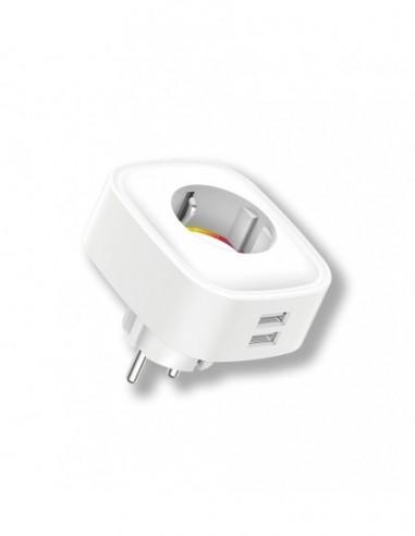 Wifi Plug Smart Consumption Meter, 2 USB Energeeks EG-EW005MC