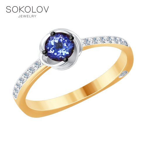 SOKOLOV Ring Mixed Gold With Diamonds And Tanzanite Fashion Jewelry 585 Women's Male