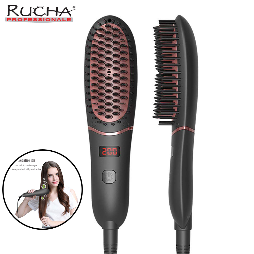 Hair Straightene Comb Quick Styling Fast Heating Electric Hair Brush ffor Men Beard and Woman Hair Smoothing 100-240V