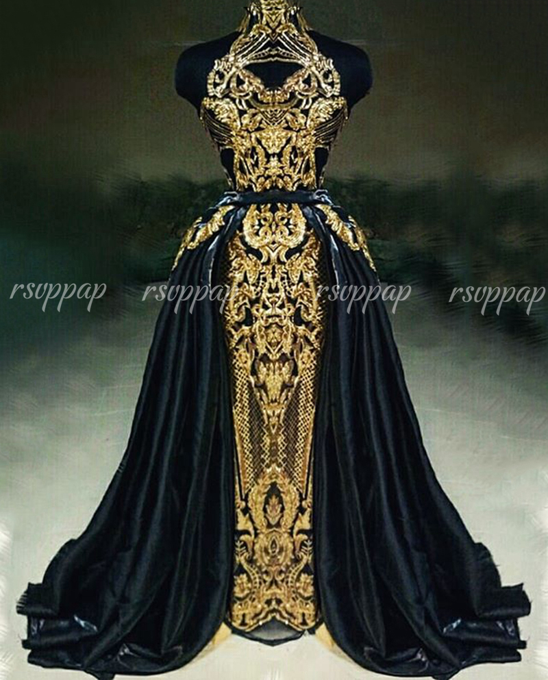 New Arrival Real Sample Long Evening Dress 2020 High Neck Gold Sequin Dubai Arabic Formal Party Gowns Detachable Train