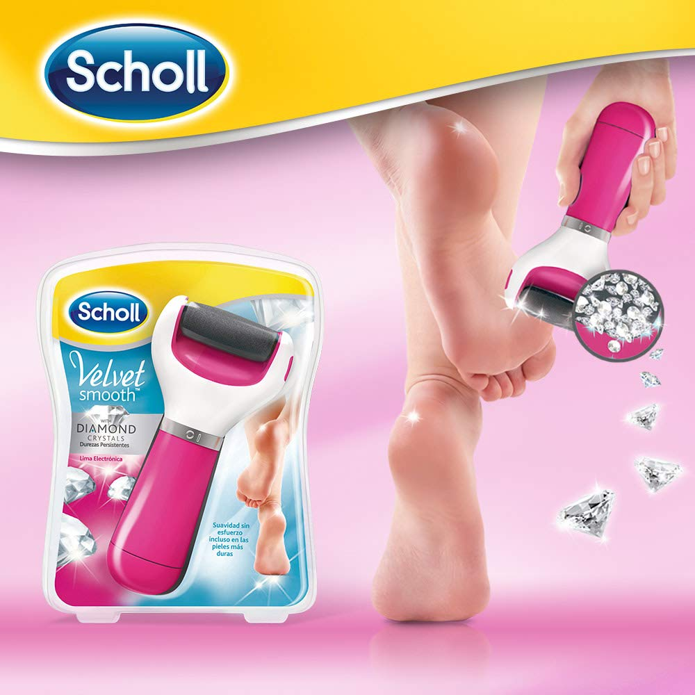Scholl Velvet Smooth Foot Care Electric Foot File Pink With Diamond Crystals By Scholl
