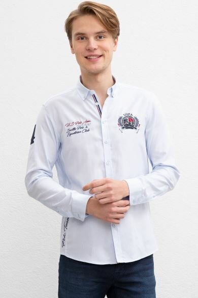 U.S. POLO ASSN. Blue Tournament Slim Shirt
