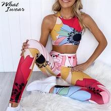 Kadınlar Fitness eşofman kadınlar Vintage 2 parça Set baskı yastıklı elastik Corp üst uzun tayt rahat bayan setleri yeni