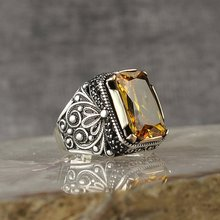 925-Sterling-Silver Ring Onyx Jewelry Citrine-Stone Aqeq Fashion Men for Vintage Gift