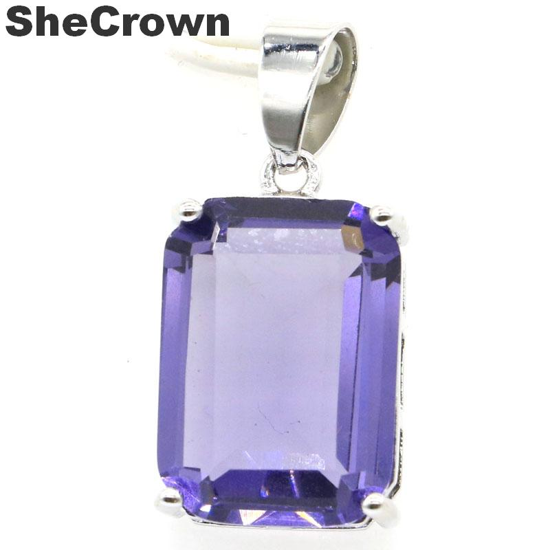 28x13mm 2019 Hot Sell Rectangle Shape 18x13mm Iolite Gift For Girls Silver Pendant
