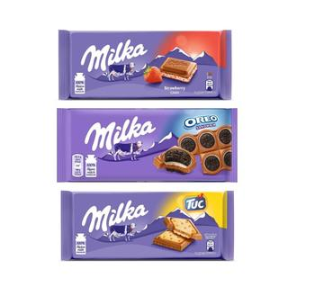 Milka Tuc Crackers 87 G + Strawberry Yoghurt Tablet Chocolate 100 Oreo Sandwich Cocoa Biscuit With 92