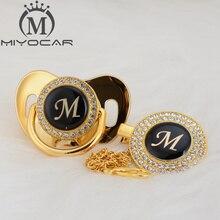 MIYOCAR Gold silver ชื่อ Initials letter ที่สวยงาม bling pacifier และ pacifier clip BPA ฟรี dummy bling การออกแบบที่ไม่ซ้ำกัน LAS 8 /9
