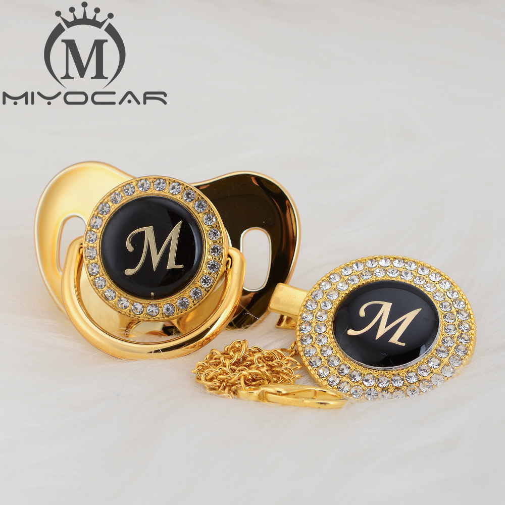 MIYOCAR Gold silver name Initials letter M beautiful bling pacifier and pacifier clip BPA free dummy bling unique design LMPacifier   -