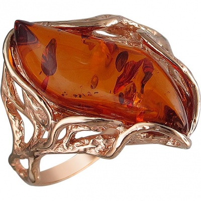 Esthete Ring With Amber From Silver With Gilding