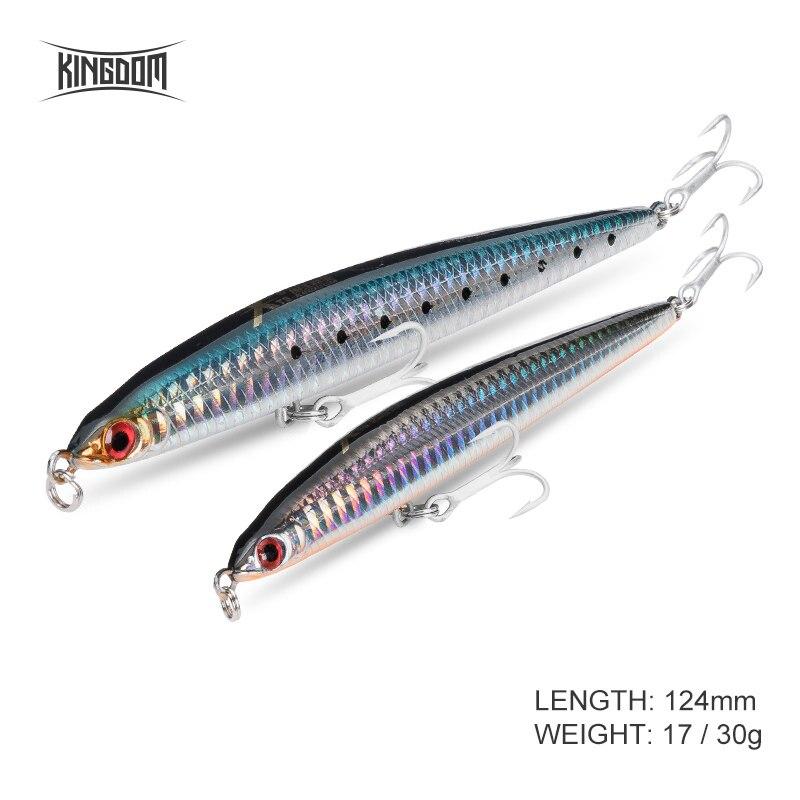 Kingdom Fishing Lure 124mm 17/30g Sinking Slender Shape Pencil Bait Sea Fishing Hard Baits With Strong Hook Model 5383