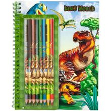 Pencils Books Dinosaur Drawing-Coloring Colored