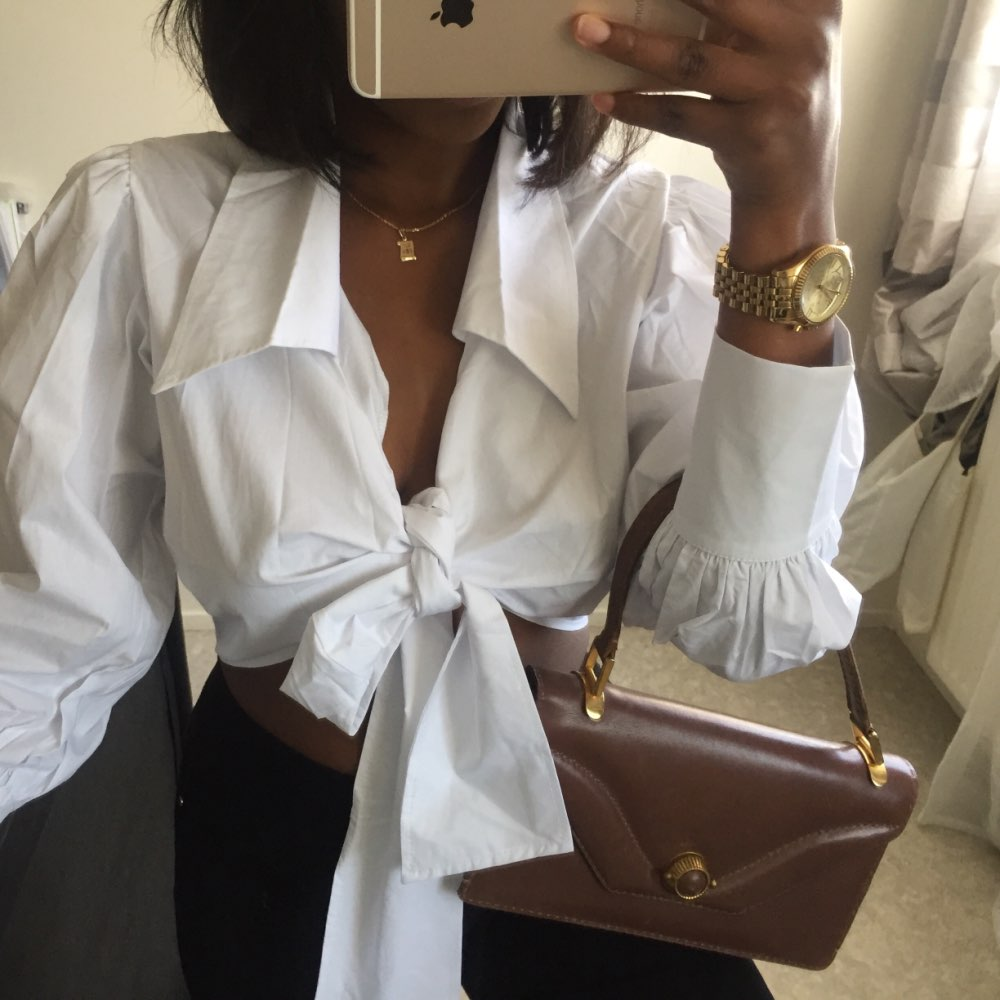 Fashion Plaid V Neck Women Crop Tops And Blouse Autumn Wrap Lace Up Short Shirt Female Casual Vintage High Street Blusa photo review