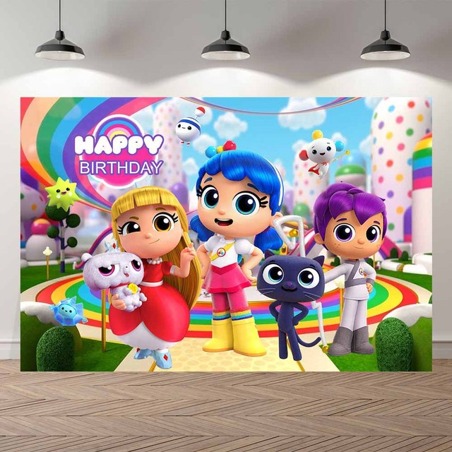 NeoBack True and The Rainbow Kingdom Decorations Backdrop with Name Backdrop for Birthday Baby Shower Photography Backdrops