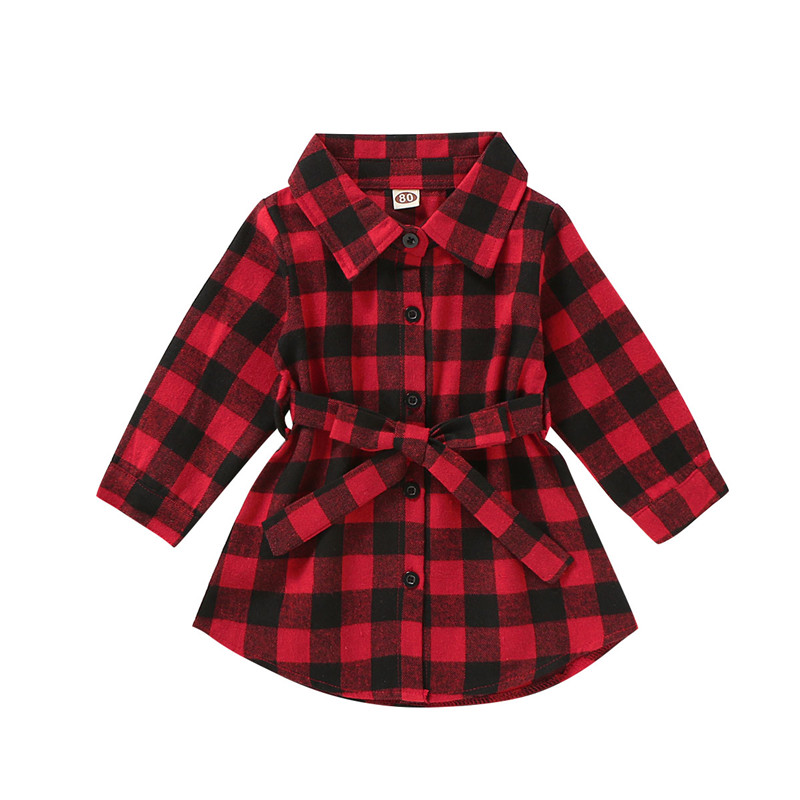 2020 Christmas Toddler Baby Girl Clothes Long Sleeve Plaids Shirt Dress Outfit Set