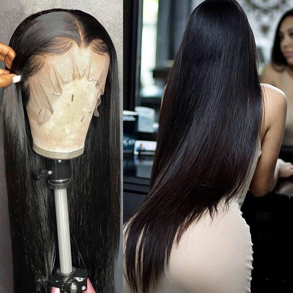 Wigirl 28 30 polegada 13x4 Brasileiro Em Linha Reta Sem Cola Rendas Frente Perucas de Cabelo Humano Pré Arrancadas Virgin Cabelo Humano Para As Mulheres Negras