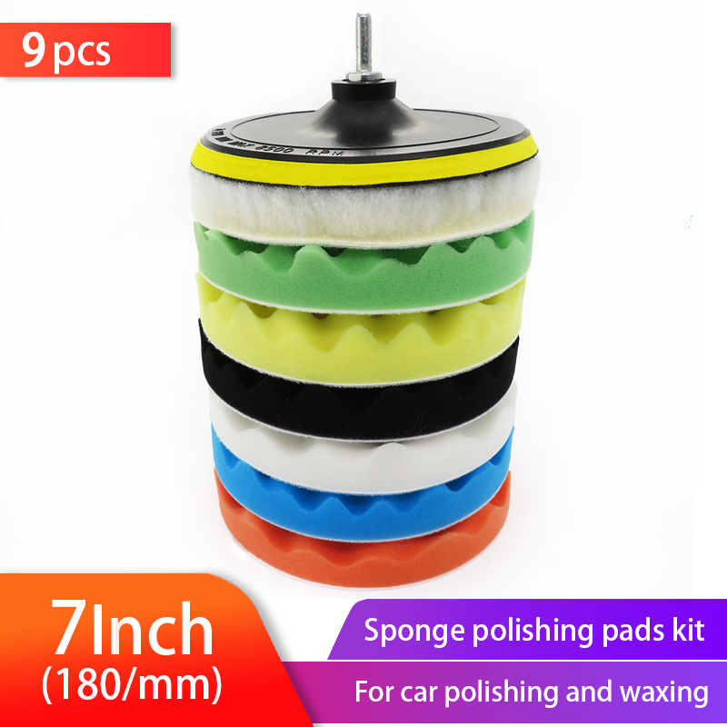 9pcs 7Inch Buffer Sponge Pad Set Woolen Car Polishing Pad Kit  Auto Buffing Waxing With M14 Drill Adaptor For Car Cleaning Tools