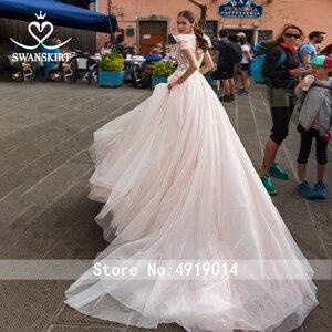 Image 2 - Romantik tül gelinlik Swanskirt Boho boncuklu aplikler A Line mahkemesi tren prenses gelin kıyafeti Vestido de noiva UZ34